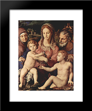 Holy Family With St. Anne And The Infant St. John The Baptist: Modern Black Framed Art Print by Agnolo Bronzino