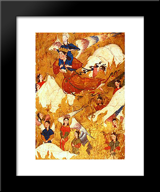 Archangel Gabriel Carries The Prophet Muhammad Over The Mountains: Modern Black Framed Art Print by Ahmad Musa