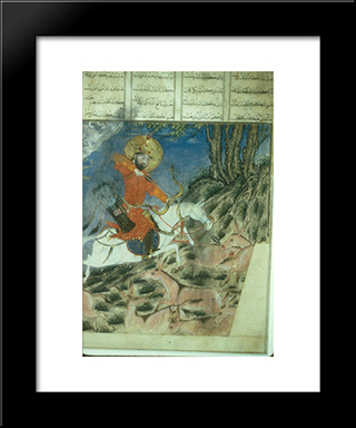 Bahram Gur And The Dragon: Modern Black Framed Art Print by Ahmad Musa
