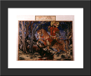 Bahram Gur Kills The Wolf: Modern Black Framed Art Print by Ahmad Musa
