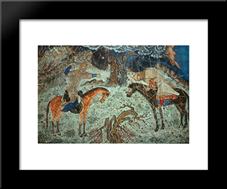 Rustam Kills Istendiyar: Modern Black Framed Art Print by Ahmad Musa