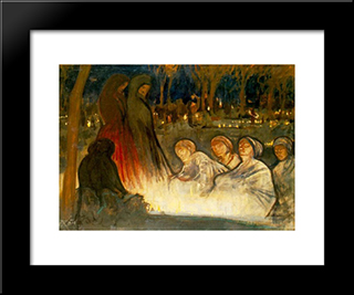 All Souls' Day: Modern Black Framed Art Print by Aladar Korosfoi Kriesch