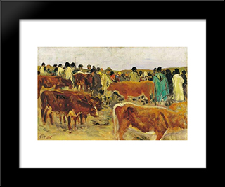 Fair: Modern Black Framed Art Print by Aladar Korosfoi Kriesch