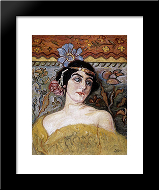 Lady With Tiara: Modern Black Framed Art Print by Aladar Korosfoi Kriesch