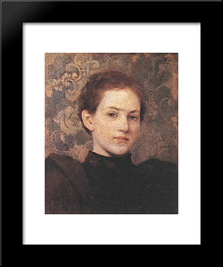 Portrait Of Kriesch Laura: Modern Black Framed Art Print by Aladar Korosfoi Kriesch