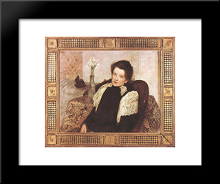 Portrait Of The Artist'S Wife: Modern Black Framed Art Print by Aladar Korosfoi Kriesch