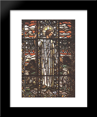 The Good Pastor: Modern Black Framed Art Print by Aladar Korosfoi Kriesch