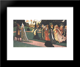 The Story Of Klara Zach I: Modern Black Framed Art Print by Aladar Korosfoi Kriesch