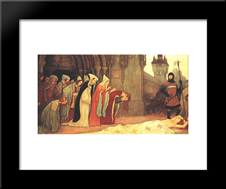 The Story Of Klara Zach Ii: Modern Black Framed Art Print by Aladar Korosfoi Kriesch