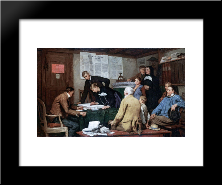 Die Ziviltrauung: Modern Black Framed Art Print by Albert Anker
