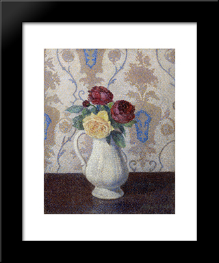 Bouquet De Roses Dans Un Vase: Modern Black Framed Art Print by Albert Dubois Pillet