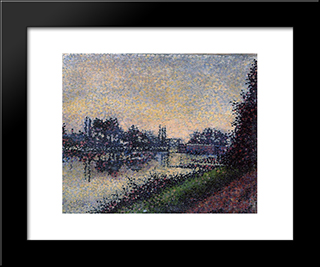 Landscape With A Lock: Modern Black Framed Art Print by Albert Dubois Pillet