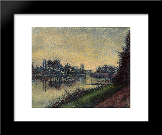 Landscape With Lock: Modern Black Framed Art Print by Albert Dubois Pillet