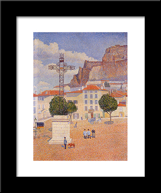 Le Puy. The Sunny Plaza: Modern Black Framed Art Print by Albert Dubois Pillet