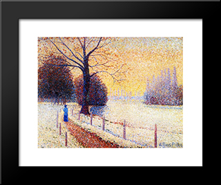 Le Puy In The Snow: Modern Black Framed Art Print by Albert Dubois Pillet