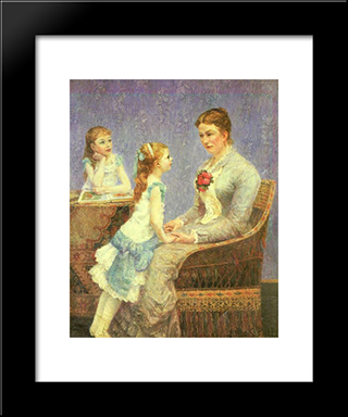 Madame Bouchet Et Ses Filles: Modern Black Framed Art Print by Albert Dubois Pillet