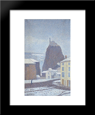 Saint-Michel D'Aiguilhe (Haute-Loire) Under Snow: Modern Black Framed Art Print by Albert Dubois Pillet