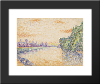 The Banks Of The Marne At Dawn: Modern Black Framed Art Print by Albert Dubois Pillet