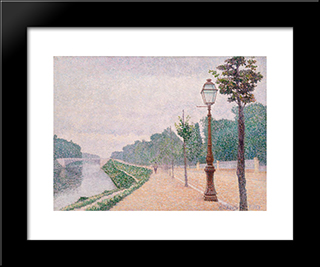 The Banks Of The Seine At Neuilly: Modern Black Framed Art Print by Albert Dubois Pillet