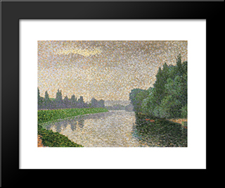 The Marne At Dawn: Modern Black Framed Art Print by Albert Dubois Pillet