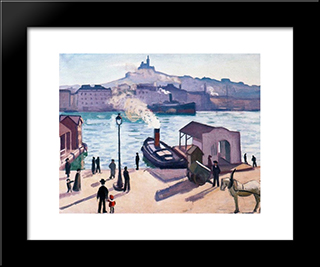 A Horse In Marseille: Modern Black Framed Art Print by Albert Marquet