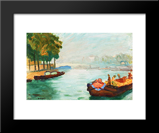 Banks Of The Seine, Paris: Modern Black Framed Art Print by Albert Marquet