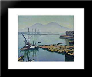 Bay Of Naples: Modern Black Framed Art Print by Albert Marquet