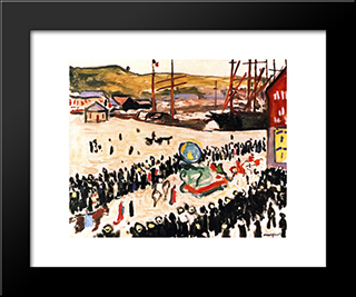 Carnival On The Beach: Modern Black Framed Art Print by Albert Marquet