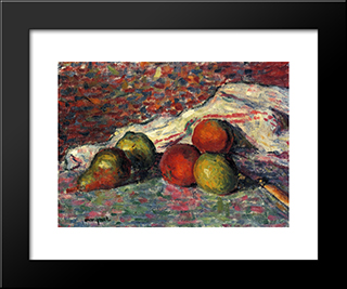 Fruit, Knife And Napkin: Modern Black Framed Art Print by Albert Marquet