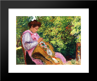 Girl Embroidering, Seated In A Garden: Modern Black Framed Art Print by Albert Marquet