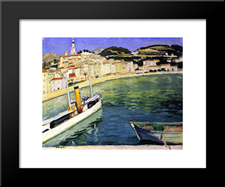 Harbor Of Menton: Modern Black Framed Art Print by Albert Marquet