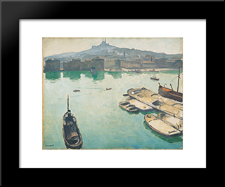 Port Of Marseilles: Modern Black Framed Art Print by Albert Marquet