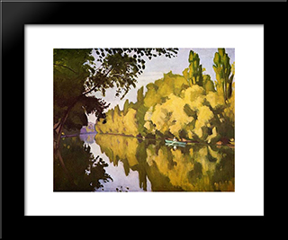 River Scene: Modern Black Framed Art Print by Albert Marquet