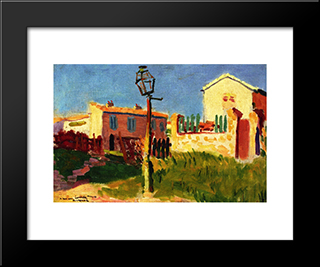 Street Lamp, Arcueil: Modern Black Framed Art Print by Albert Marquet