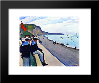 The Beach At Fecamp: Modern Black Framed Art Print by Albert Marquet