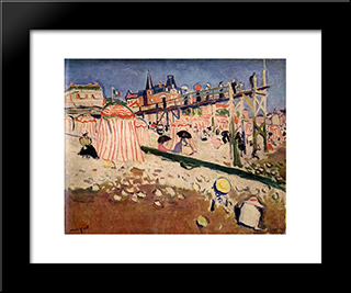 The Beach At Sainte-Adresse: Modern Black Framed Art Print by Albert Marquet