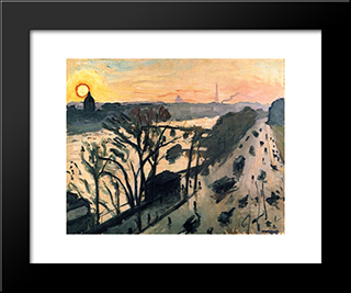 The Louvre Embankment: Modern Black Framed Art Print by Albert Marquet
