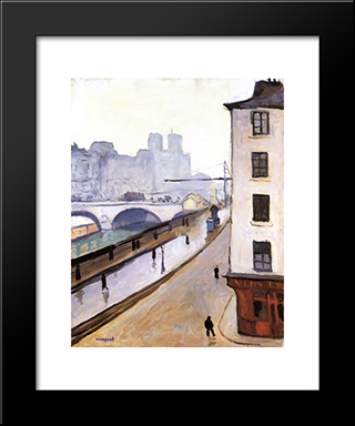 The Pont Saint-Michel And Notre Dame: Modern Black Framed Art Print by Albert Marquet