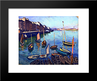 The Port, Le Havre: Modern Black Framed Art Print by Albert Marquet