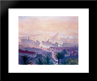 The Port Of Algiers With Haze: Modern Black Framed Art Print by Albert Marquet