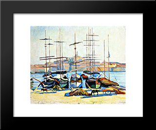 The Port Of Marseliles: Modern Black Framed Art Print by Albert Marquet