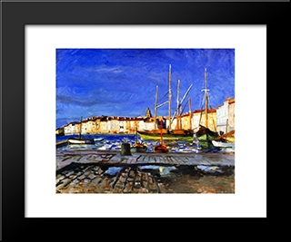 The Port Of Saint-Tropez: Modern Black Framed Art Print by Albert Marquet