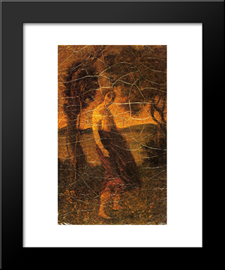 A Country Girl: Modern Black Framed Art Print by Albert Pinkham Ryder