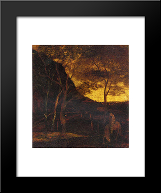 At The Ford: Modern Black Framed Art Print by Albert Pinkham Ryder