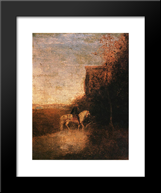 Childe Harold'S Pilgrimage: Modern Black Framed Art Print by Albert Pinkham Ryder