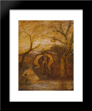 Dancing Dryads: Modern Black Framed Art Print by Albert Pinkham Ryder