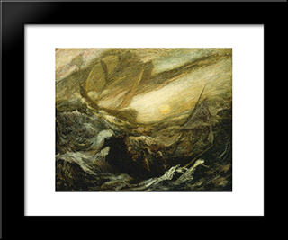 Flying Dutchman: Modern Black Framed Art Print by Albert Pinkham Ryder
