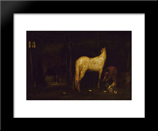 In The Stable: Modern Black Framed Art Print by Albert Pinkham Ryder