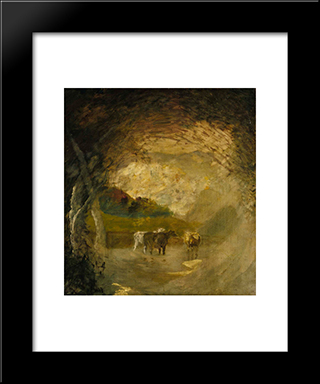 Landscape With Trees And Cattle: Modern Black Framed Art Print by Albert Pinkham Ryder