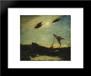 Moonlight: Modern Black Framed Art Print by Albert Pinkham Ryder